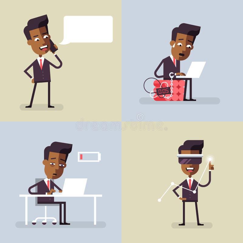 Ensemble de avec homme d'affaires noir Vector illustration libre de droits