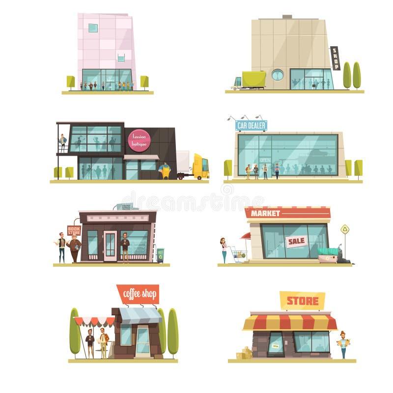 Ensemble de bâtiment de supermarché illustration de vecteur