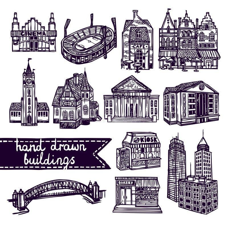 Ensemble de bâtiment de ville de croquis illustration stock