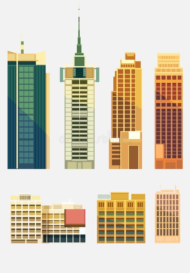 Ensemble de bâtiments de ville illustration de vecteur