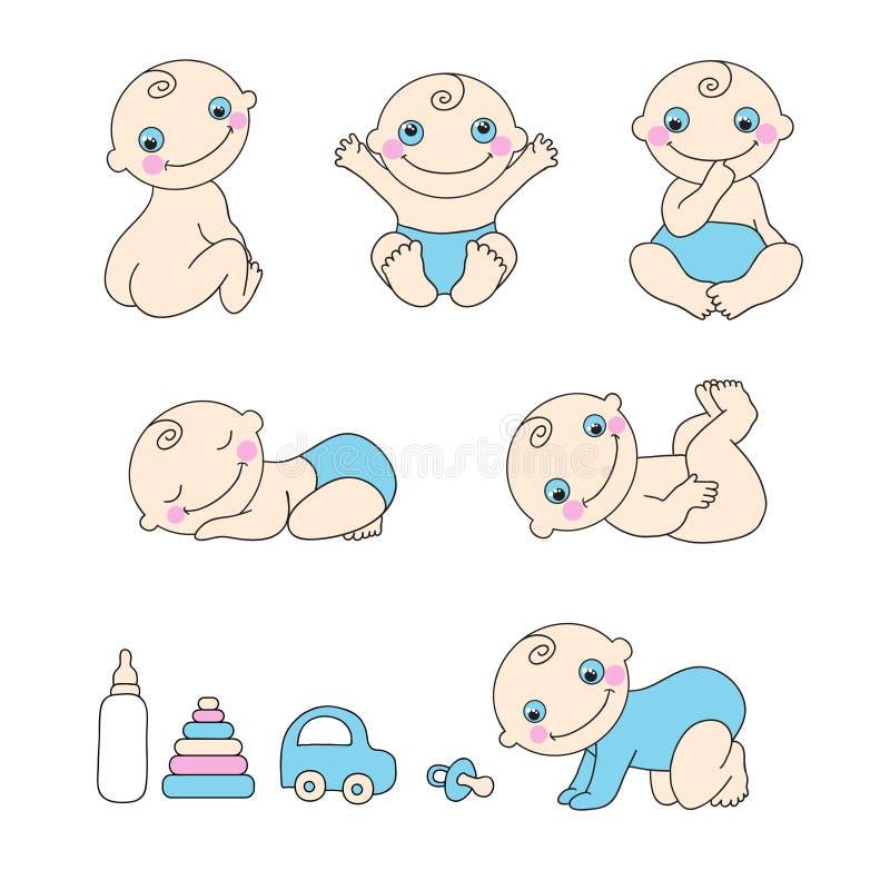 Ensemble de bébé garçon. Illustration de vecteur illustration stock