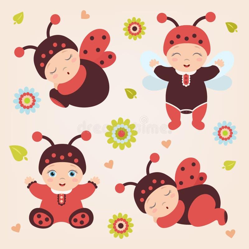 Ensemble de bébés dans la coccinelle de costume Bébés de coccinelle illustration stock