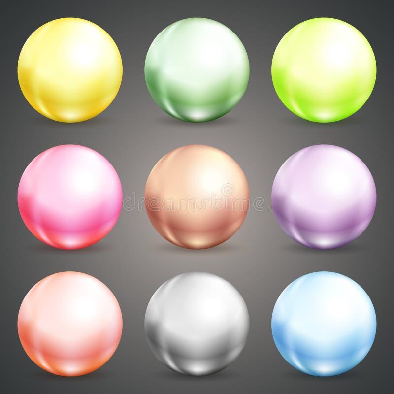 Ensemble de babioles ou de boules rondes colorées illustration libre de droits