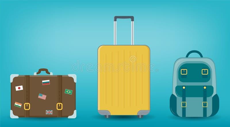 Ensemble de bagage de voyage Concept de course et de tourisme Conception plate Vecteur illustration libre de droits