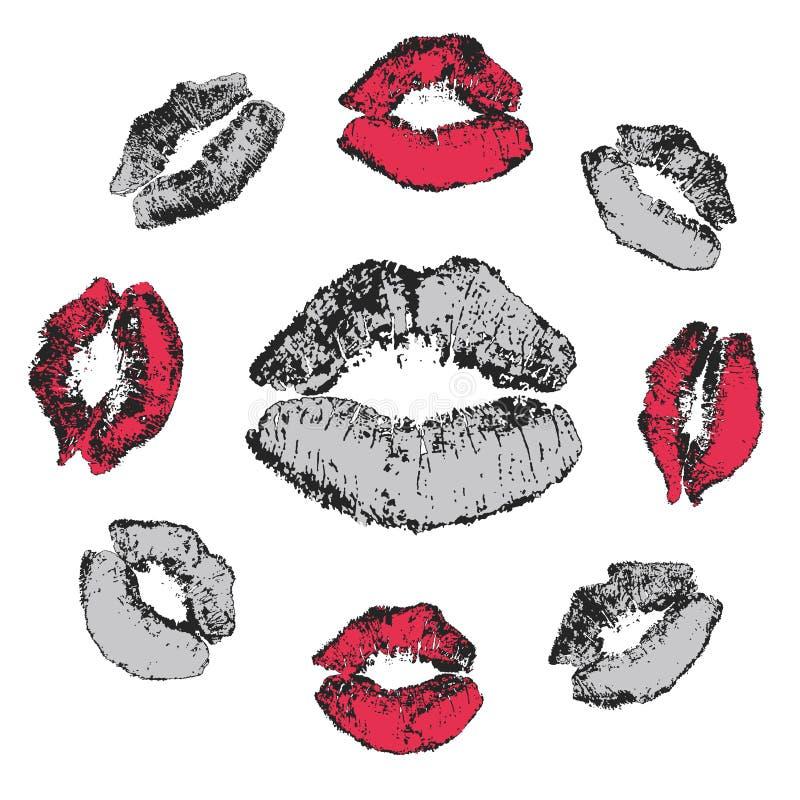 Ensemble de baisers grunges illustration libre de droits