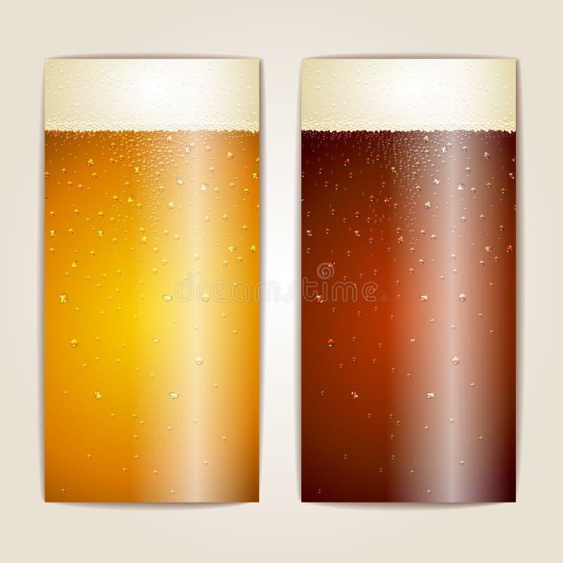 Ensemble de baisses de l'eau sur le fond de bière illustration stock