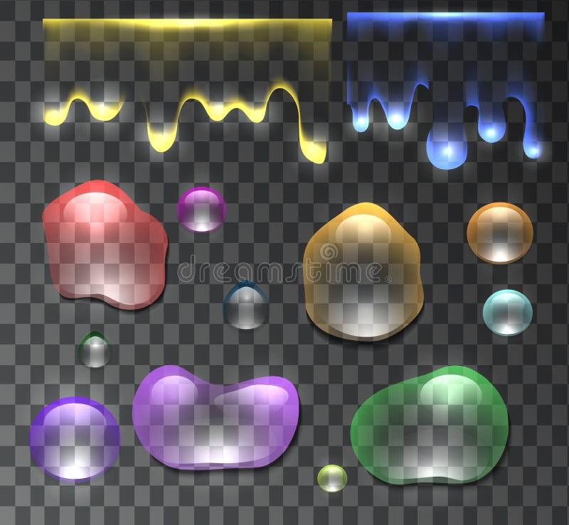 Ensemble de baisses multicolores transparentes et d'écoulement de l'eau illustration stock