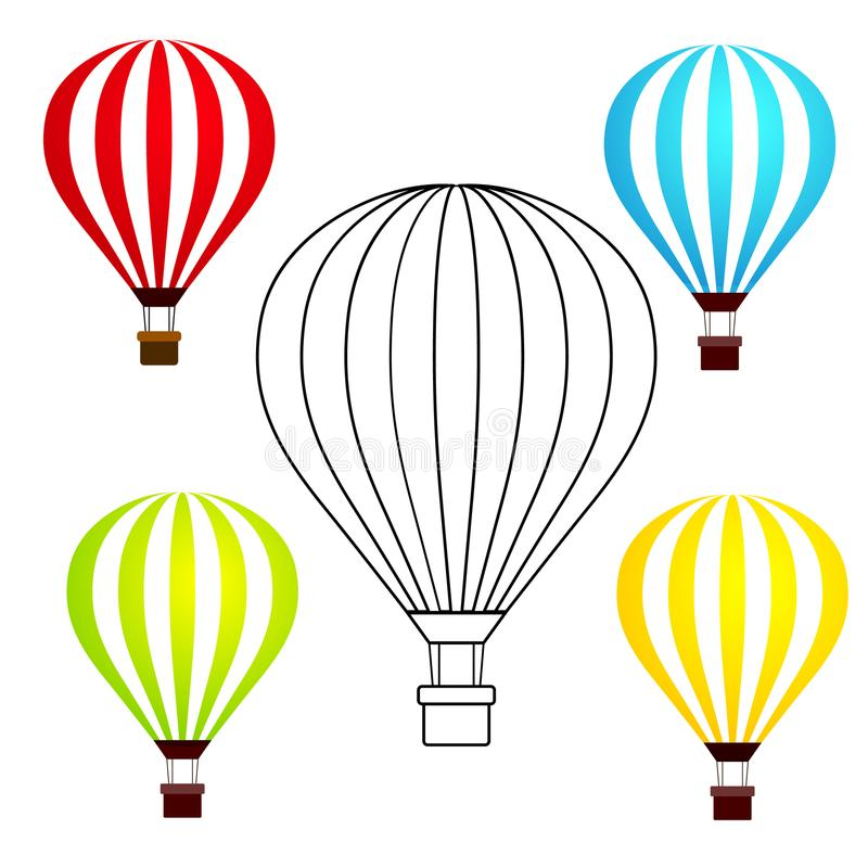 Ensemble de ballons à air chauds colorés d'isolement sur le fond blanc VE illustration libre de droits