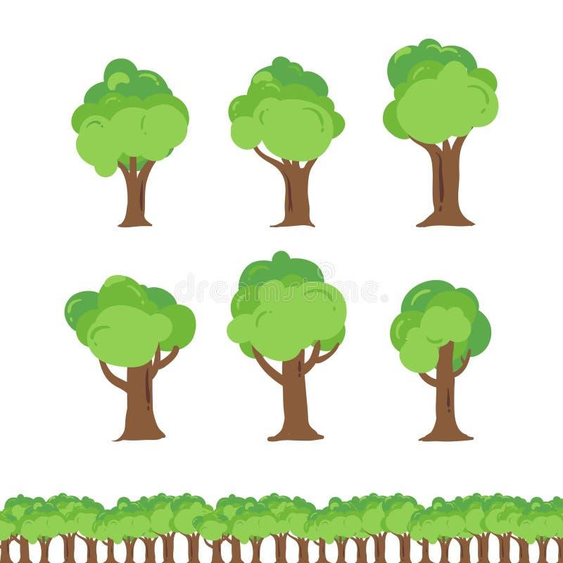 Ensemble de bande dessinée de collection d'illustration d'arbre illustration libre de droits