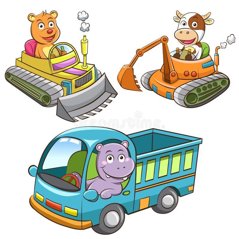 Ensemble de bande dessinée d'animal de véhicule de construction illustration de vecteur