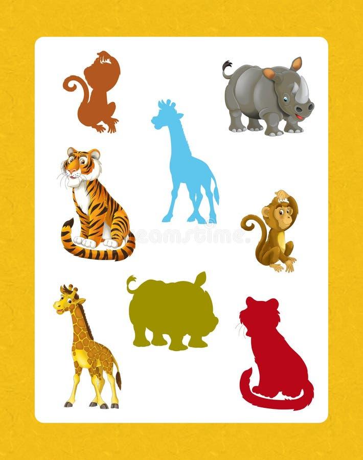 Ensemble de bande dessinée d'animaux africains sauvages heureux et drôles - jeu de recherche avec des ombres illustration de vecteur