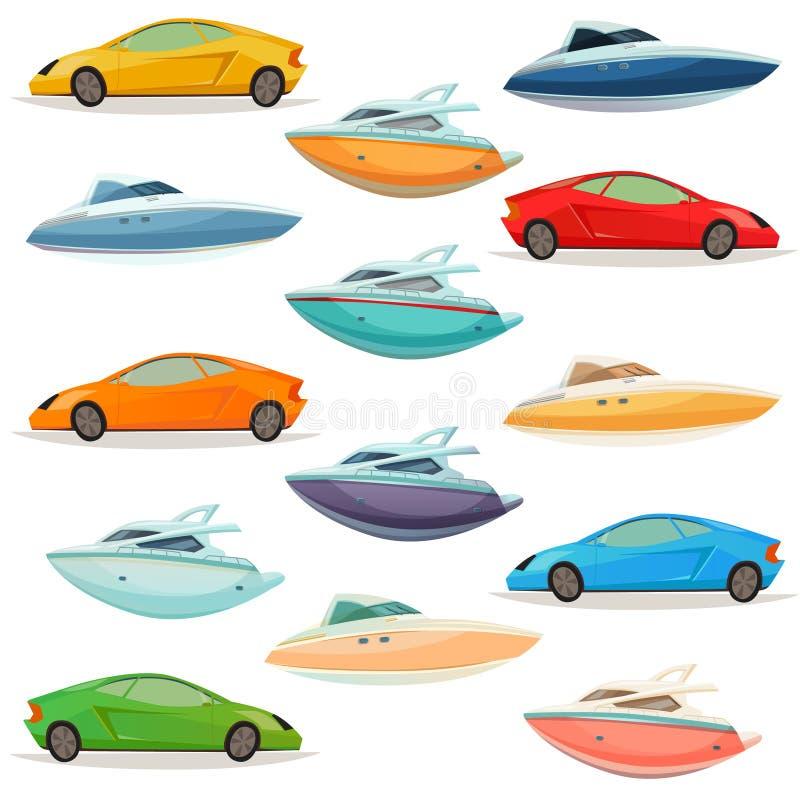 Ensemble de bande dessinée de bateaux de yachts de voitures illustration stock
