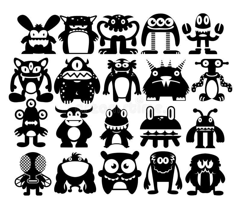 Ensemble de bande dessinée de différents monstres d'isolement illustration stock
