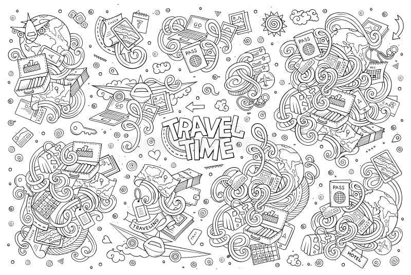 Ensemble de bande dessinée de griffonnage de vecteur d'articles de thème de voyage illustration libre de droits