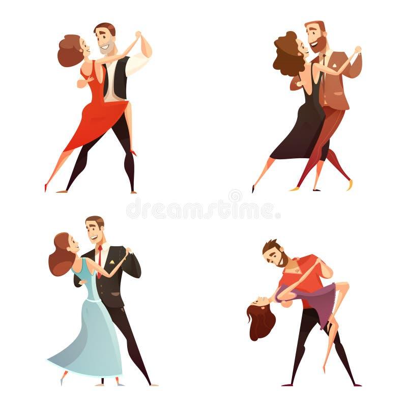 Ensemble de bande dessinée de paires de danse rétro illustration de vecteur