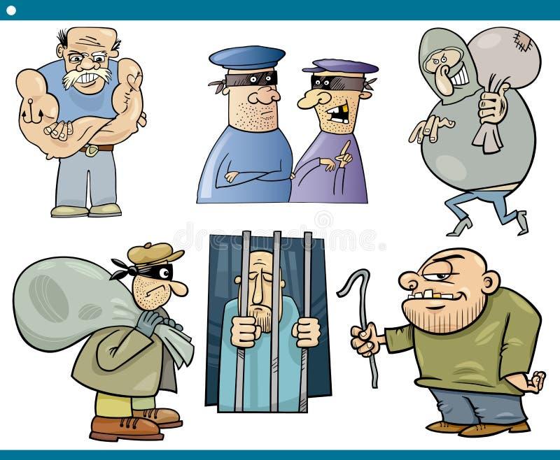 Ensemble de bande dessinée de voleurs et de voyous illustration de vecteur