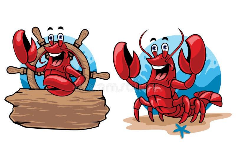 Ensemble de bande dessinée de homard illustration libre de droits
