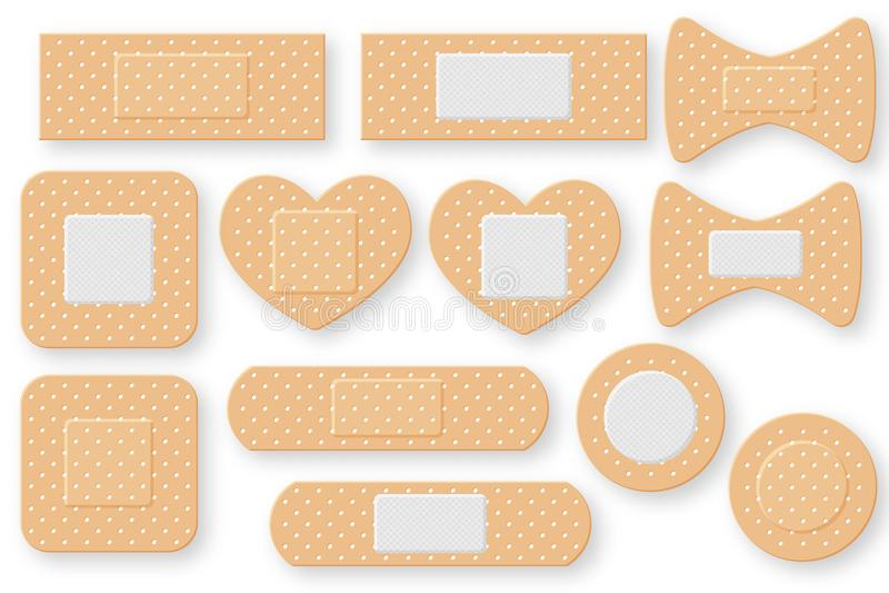 Ensemble de bande réaliste de plâtre de bande de premiers secours Correction élastique de bandage illustration stock