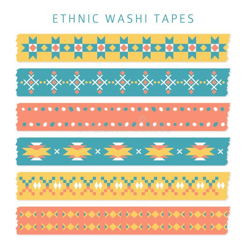 Ensemble de bandes de washi avec les modèles à la mode d'Aztèque, de Mexicain ou de Navajo, ethniques illustration libre de droits