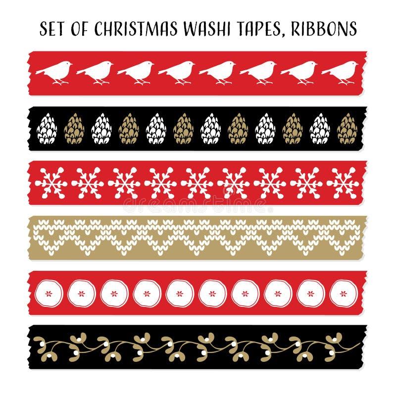 Ensemble de bandes de washi de Noël de vintage, rubans avec des oiseaux, cônes de pin, gui Éléments de vecteur, modèles mignons illustration de vecteur