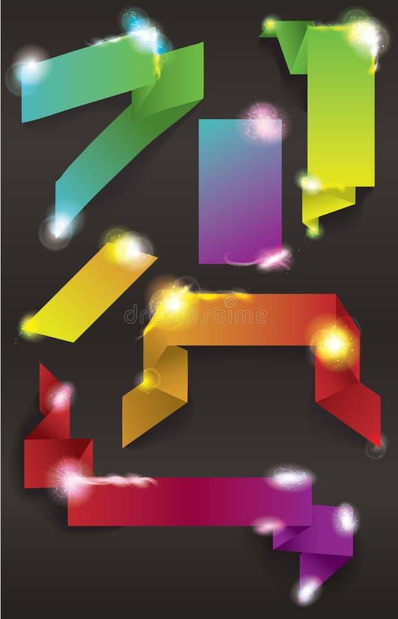 Ensemble de bandes et de boutons de pétillement colorés de Web illustration de vecteur