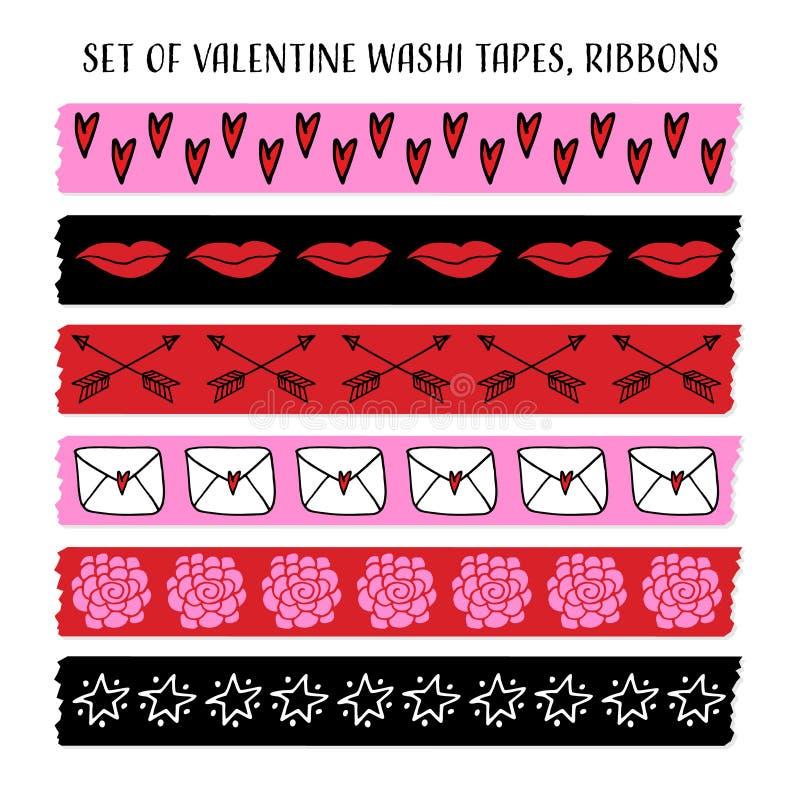Ensemble de bandes fraîches de washi de Valentine, rubans avec des modèles de griffonnage Objets de vecteur Conception drôle illustration libre de droits