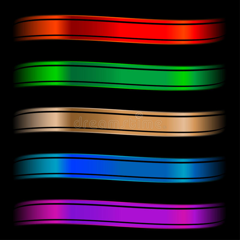 Ensemble de bandes lustrées de couleur illustration stock