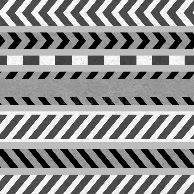 Ensemble de bandes de précaution et de panneaux d'avertissement blanc noir illustration stock