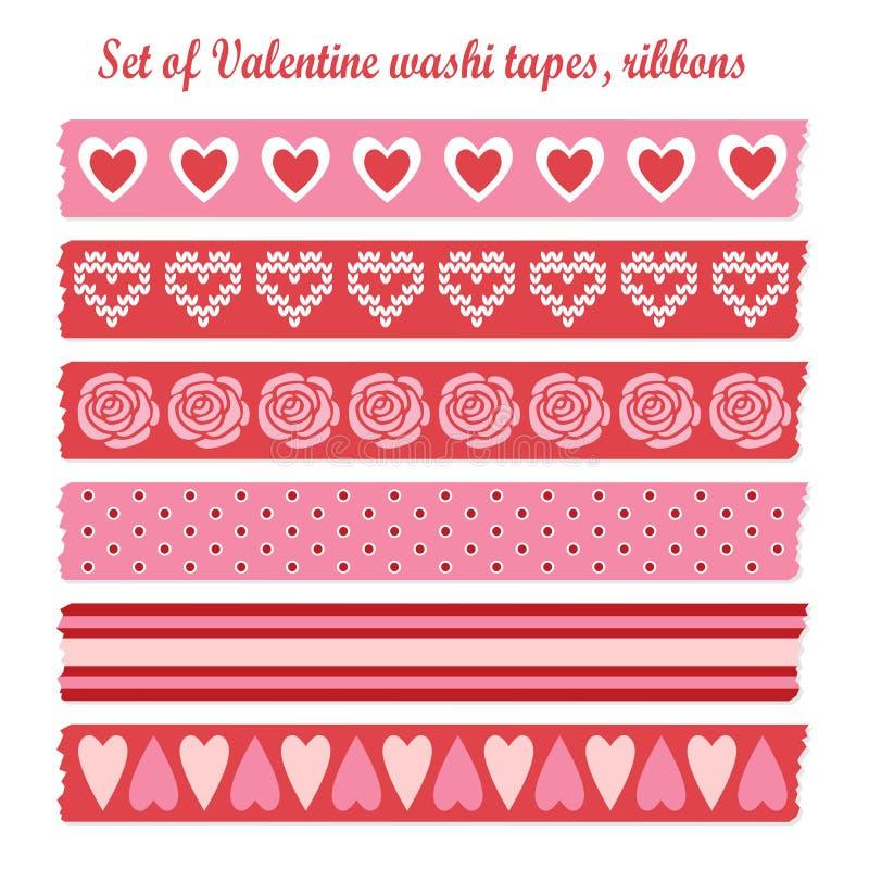 Ensemble de bandes romantiques de washi de vintage de Valentine, rubans, éléments, modèles mignons de conception illustration libre de droits