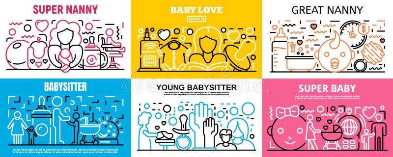 Ensemble de bannière de babysitter d'enfant, style d'ensemble illustration libre de droits