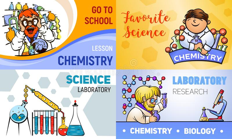 Ensemble de bannière de chimie, style de bande dessinée illustration libre de droits