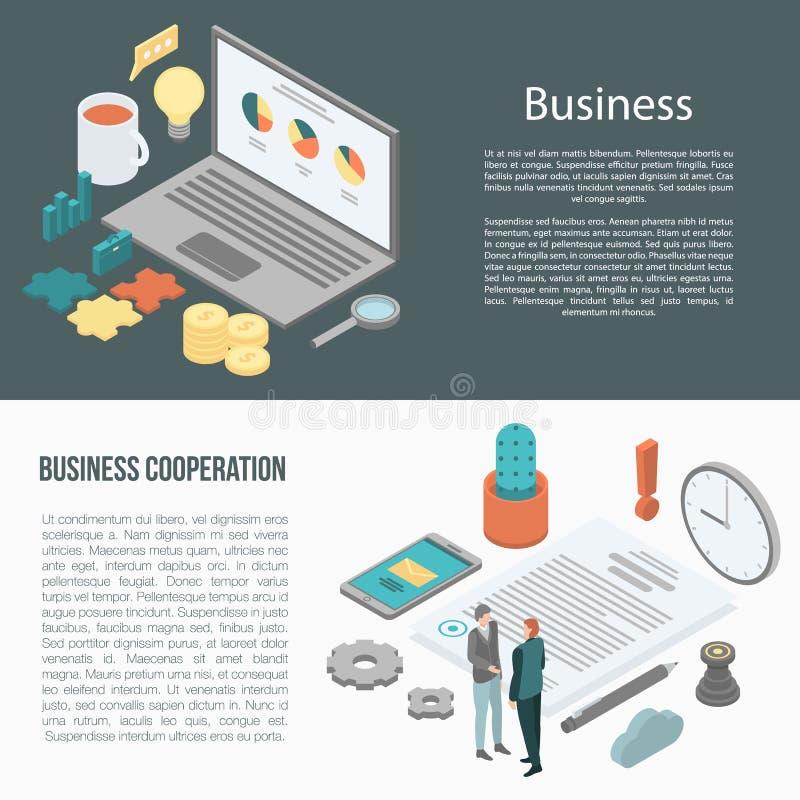 Ensemble de bannière de coopération d'affaires, style isométrique illustration libre de droits