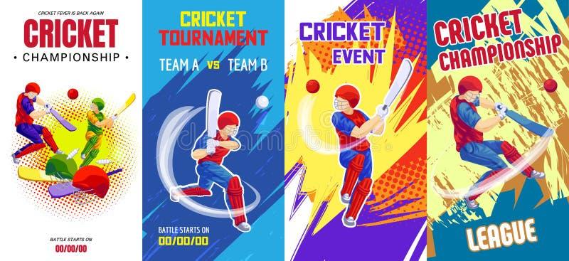 Ensemble de bannière de cricket, style de bande dessinée illustration de vecteur