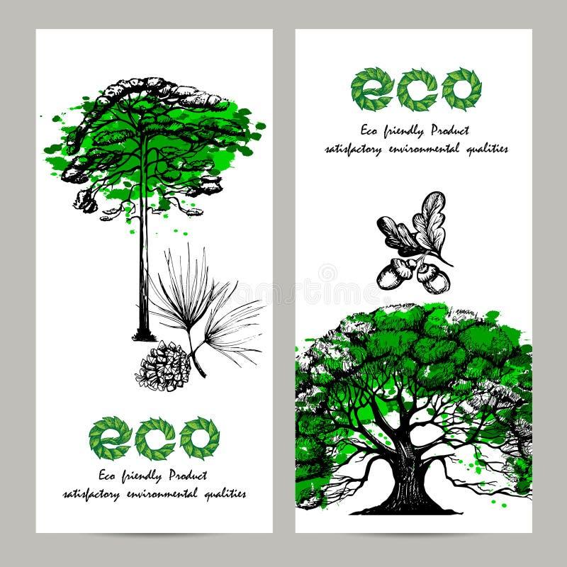 Ensemble de bannière d'écologie illustration stock
