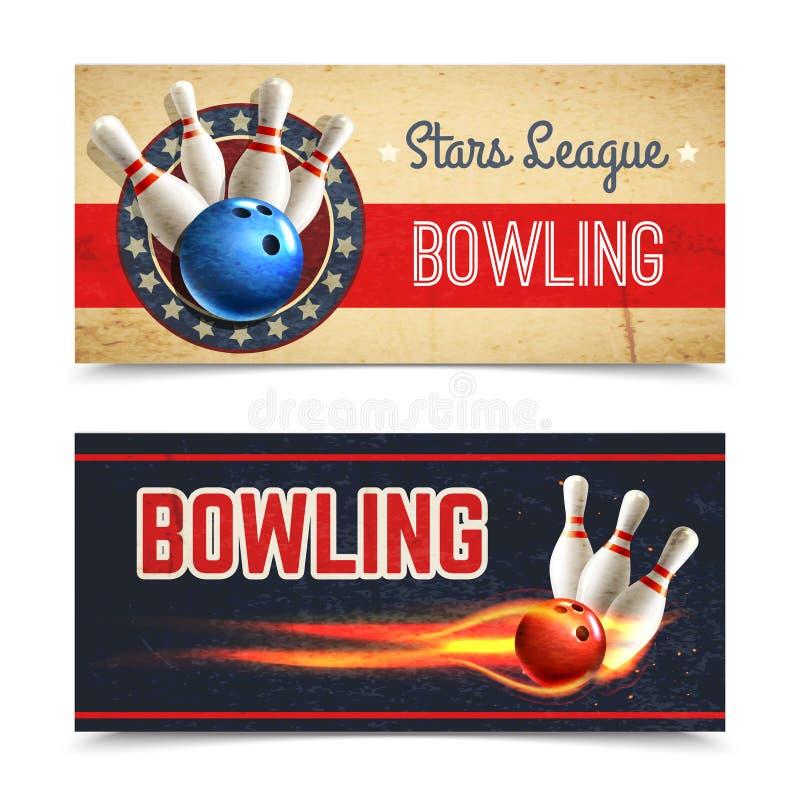 Ensemble de bannière de bowling illustration stock