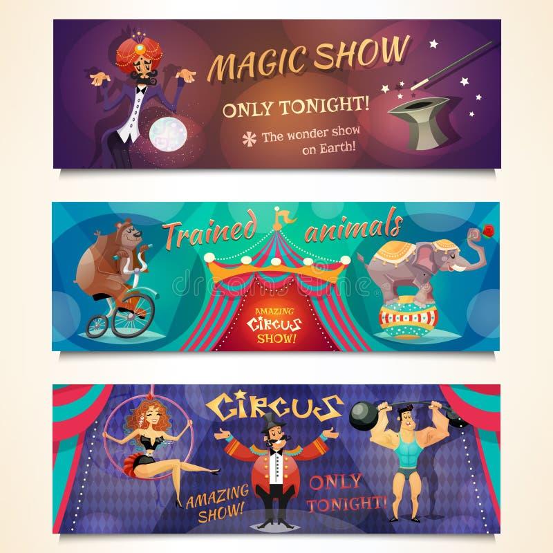 Ensemble de bannière de cirque illustration de vecteur