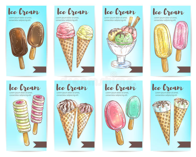 Ensemble de bannière de croquis de dessert de menu de crème glacée  illustration de vecteur