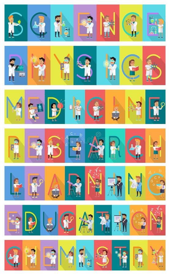 Ensemble de bannière de la Science Alphabet de la Science illustration stock