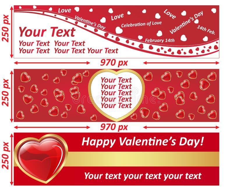 Ensemble de bannière de panneau d'affichage de Web de Saint-Valentin illustration libre de droits