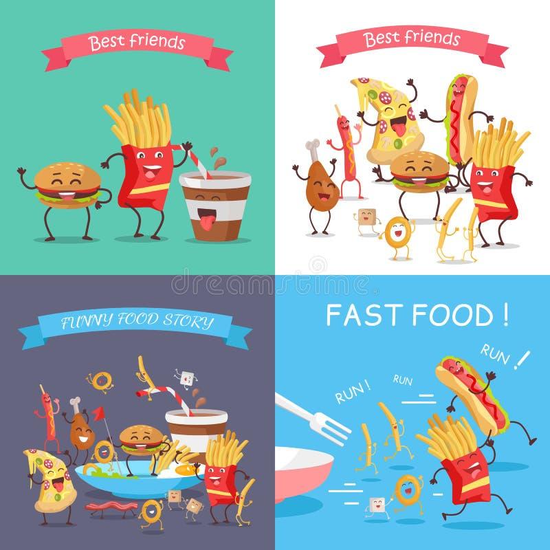 Ensemble de bannière de personnages de dessin animé d'aliments de préparation rapide illustration libre de droits