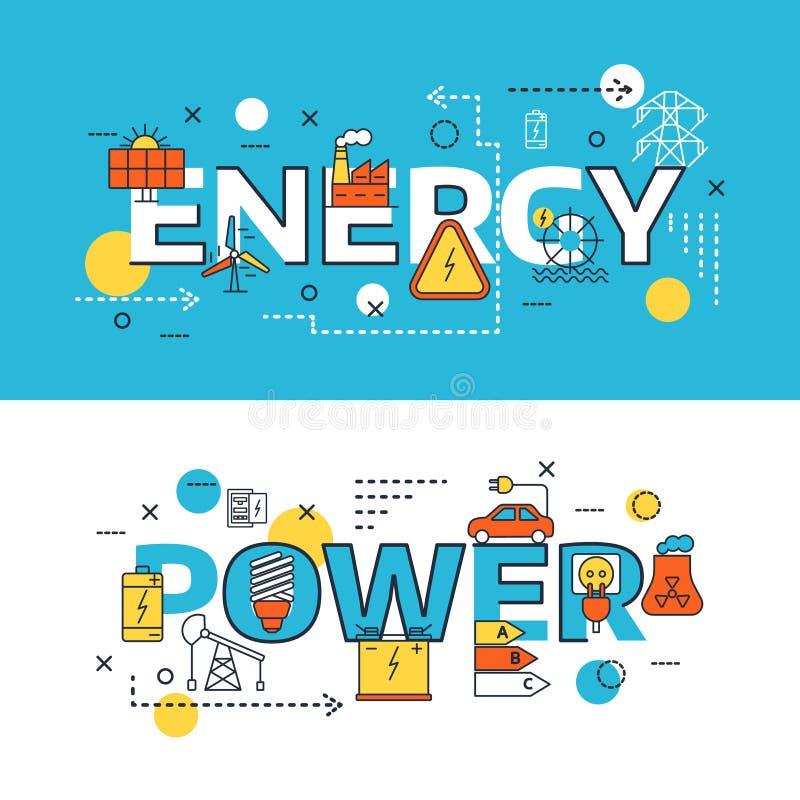Ensemble de bannière de sources d'énergie illustration libre de droits