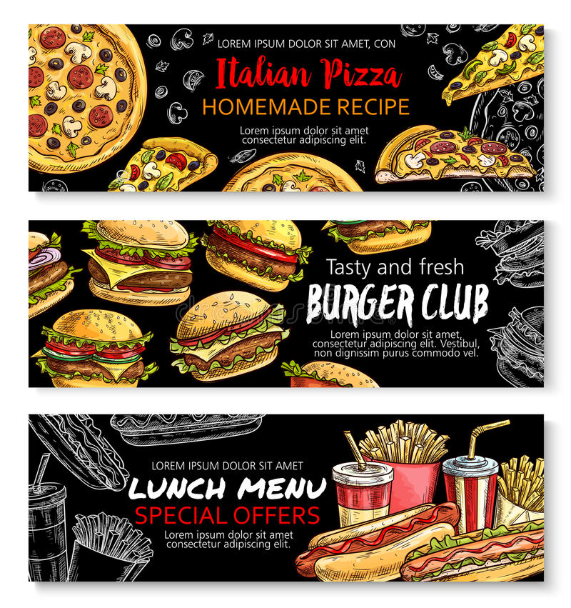 Ensemble de bannière de tableau d'offre spéciale de menu d'aliments de préparation rapide illustration stock