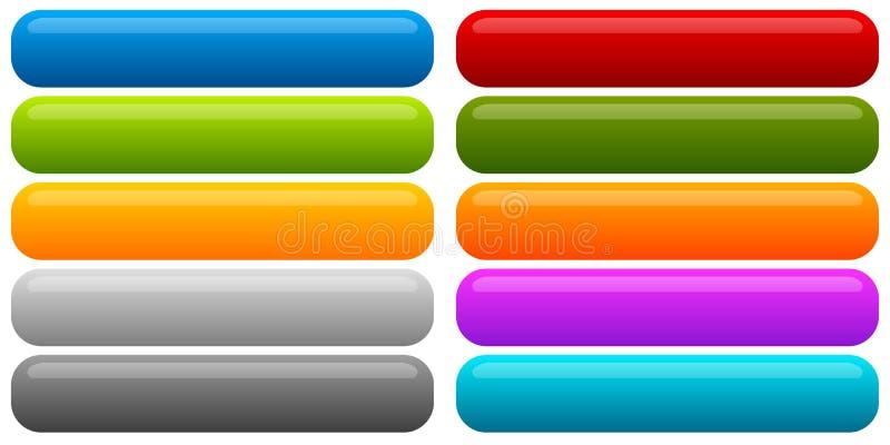 Ensemble de bannière, fond de bouton Boutons rectangulaires horizontaux illustration de vecteur
