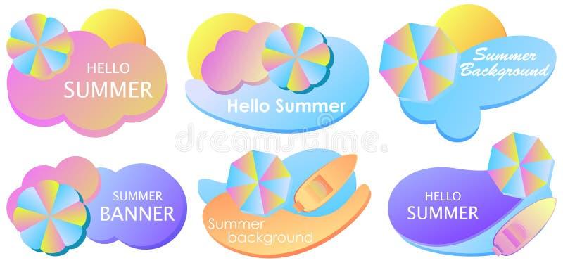 Ensemble de bannière de gradient hydraulique d'été Formes liquides colorées d'isolement sur le fond blanc Parapluie et mer de pla illustration stock