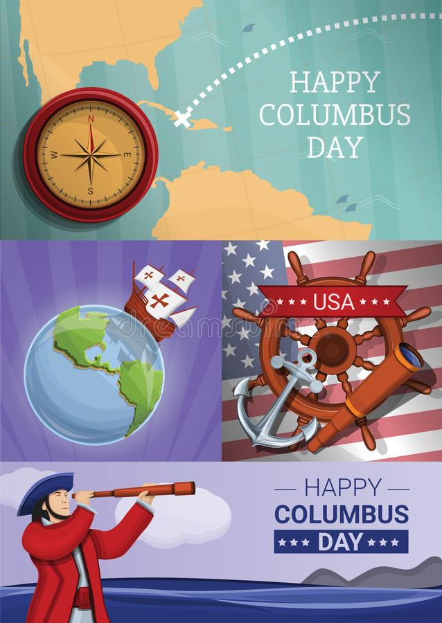 Ensemble de bannière de jour de Columbus, style de bande dessinée illustration stock