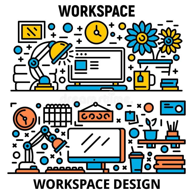 Ensemble de bannière de lieu de travail, style d'ensemble illustration de vecteur