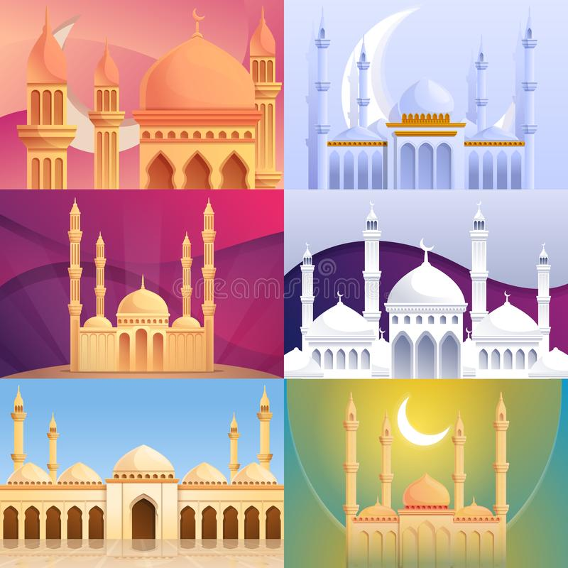 Ensemble de bannière de mosquée, style de bande dessinée illustration libre de droits