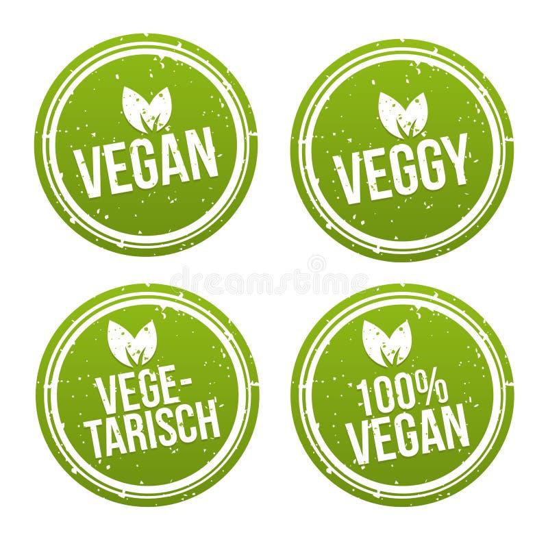 Ensemble de bannière de Vegetarisch d'und de bouton de Vegan illustration de vecteur