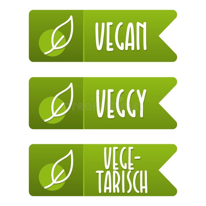 Ensemble de bannière de Vegetarisch d'und de label de Vegan illustration stock
