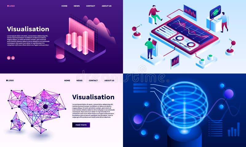 Ensemble de bannière de visualisation, style isométrique illustration stock